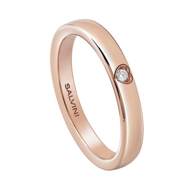 Immagine di BATTITO Fede in oro rosa con diamante esterno