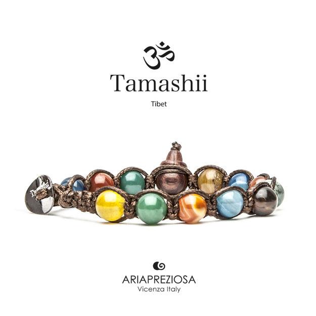 Immagine di Bracciale Tamashii Originale Agata Striata Mix Colori BHS900-229
