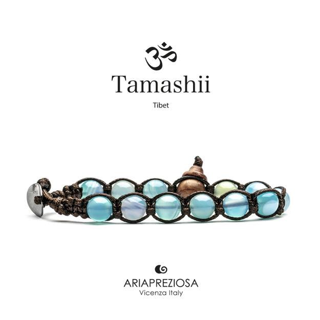 Immagine di Bracciale Tamashii Originale Agata Azzurra (Sky) Striata BHS900-165
