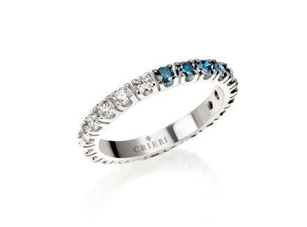 Crieri eclissi anello eternelle in oro bianco con diamanti blu e bianchi