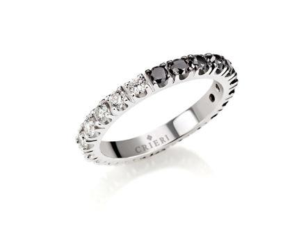 Crieri eclissi anello eternelle in oro bianco con diamanti bianchi e neri taglio brillante