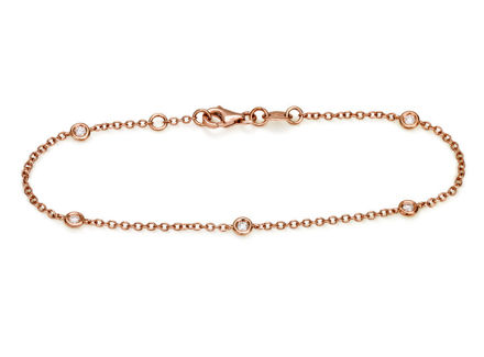 Crieri Zefiro bracciale in oro rosa e diamanti bianchi taglio brillante.