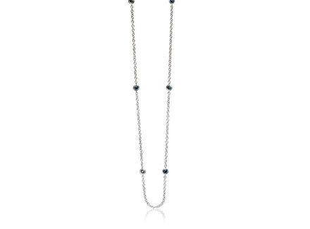 Crieri zefiro collana in oro bianco e diamanti blu taglio brillante.