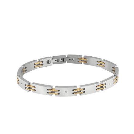 Bliss Admiral bracciale in Acciaio con finitura in Oro e Diamante