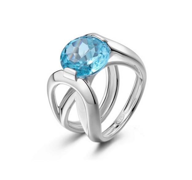 Pianegonda anello in argento 925‰ con topazio blu